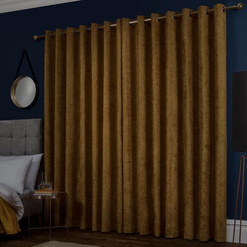BLACKOUT & THERMAL HERRINGBONE OCHRE 66x54 Curtain