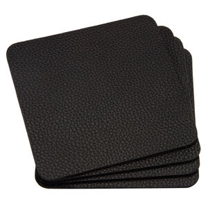 Leather Black Coasters 4Pk
