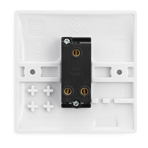 1 Gang 2 Way Switch Plate - White
