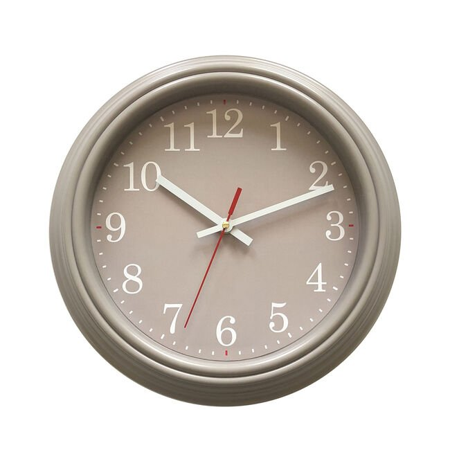 Grey Clock with Red Second Hand