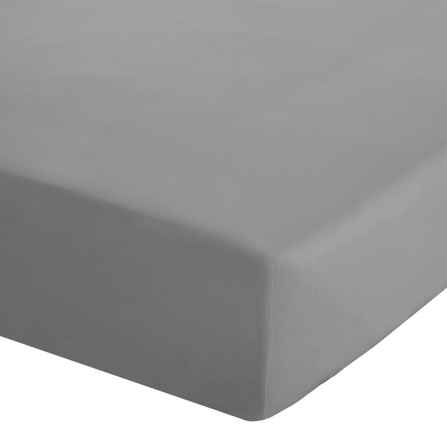 SINGLE FITTED SHEET Luxury Percale Grey