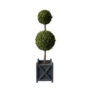 Faux Double Topiary Boxwood Tree