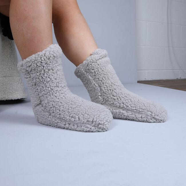 Teddy Socks Pair - Dove Grey
