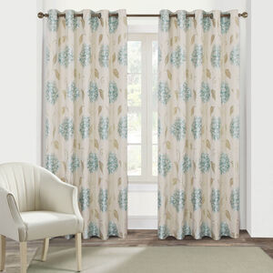 FLORAL BURST DUCK EGG 66x54 Curtain