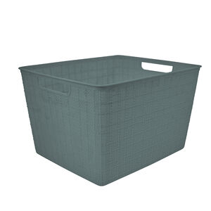 Hessian Blue Storage Basket 18L