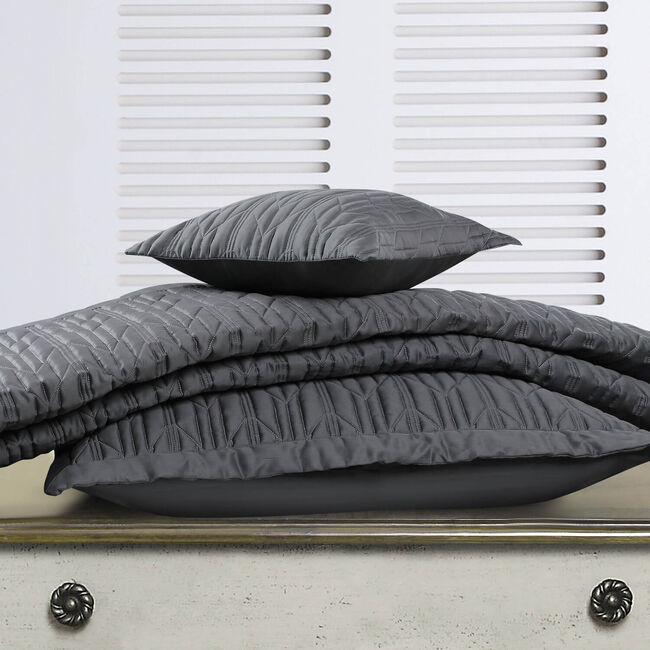 Quilted Hotel Chevron Grey Bedspread