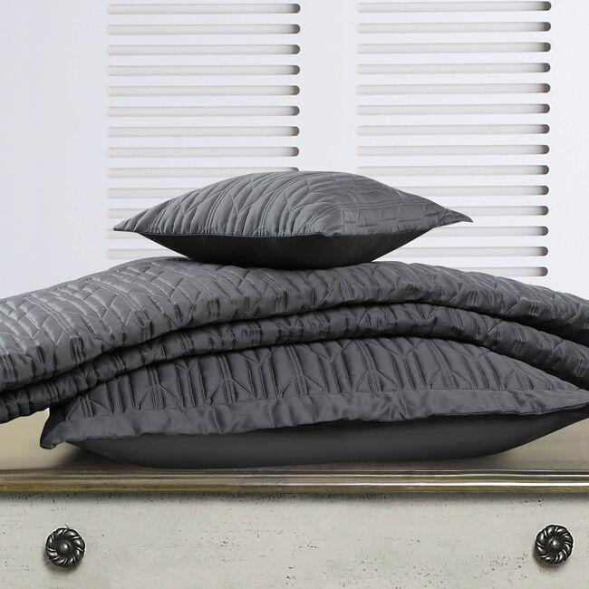 Quilted Hotel Chevron Grey Cushion 30x50cm