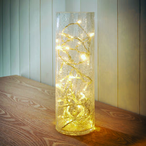 Crackle Vase with LED String Lights