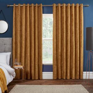 BLACKOUT & THERMAL HERRINGBONE OCHRE 90x90 Curtain