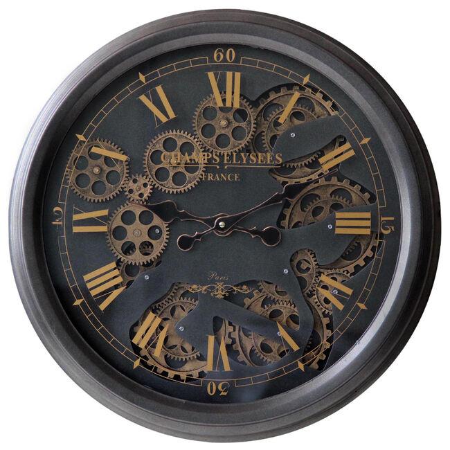 Black & Gold Cogs Clock 52cm