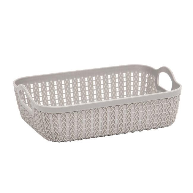Knit Charcoal Rectangle Storage Tray 27x20cm