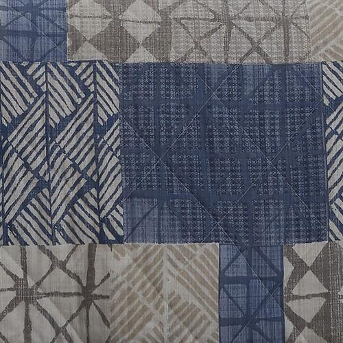 Monika Bedspread 200x220cm - Blue/Natural