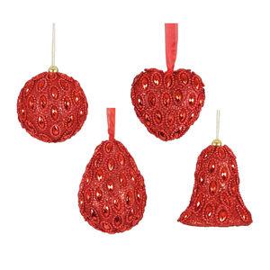 Jewel Shapes Tree Ornament Red 8cm