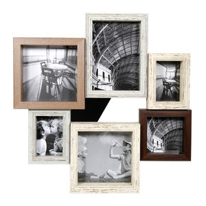 Vintage Wood Photo Frame 6 Windows