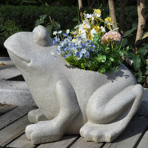 Frog Fibre Clay Plant Pot
