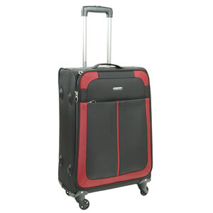 Medium Black and Red Lightweight Suitcase