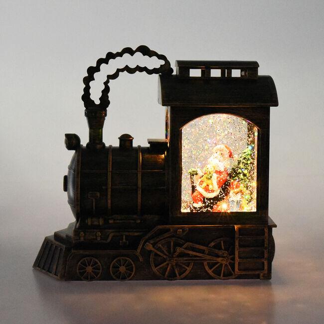Lightup Santa Train Swirling Glitter Lantern