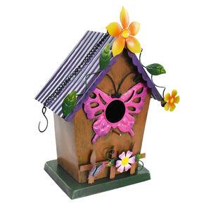Butterfly Decoration Metal Birdhouse