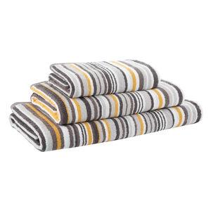 500GSM BROKEN STRIPE OCHRE/CHAR Hand Towel