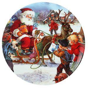 Santa Comes To The Village Round Platter