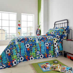 Football Graffiti Bedspread 200 x 220cm - Blue