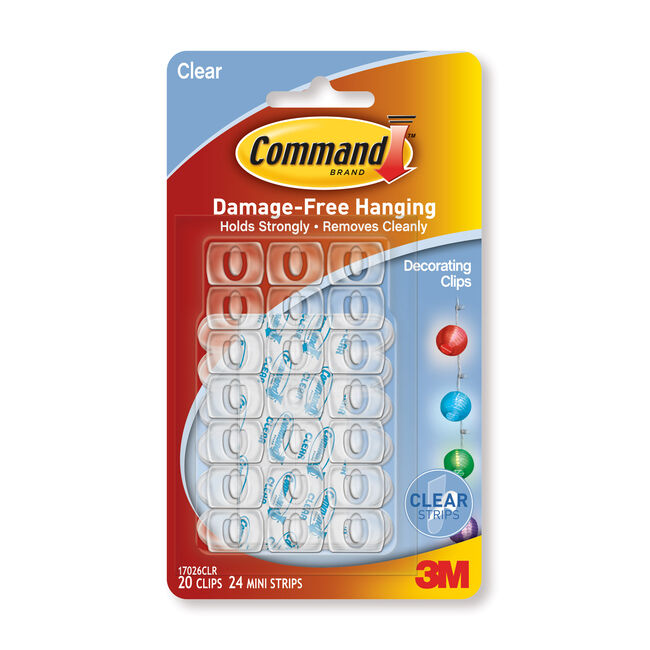 Command 20Pk Strips Clear Decorating Clips