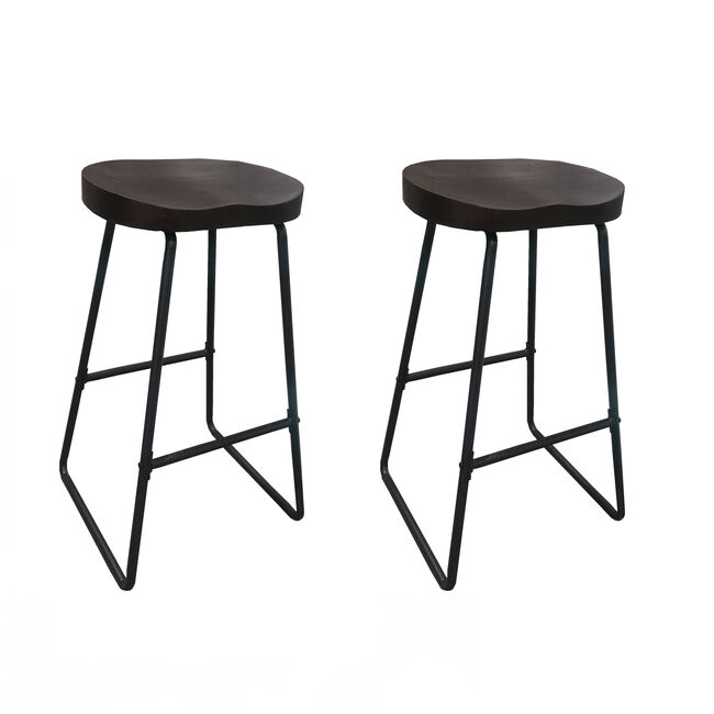 Noa Counter Stool Set of 2 Elm Dark Stained