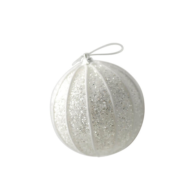 Glitter Bauble Tree Decoration - Ivory
