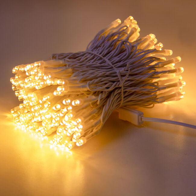200 Warm White LED Lights with White Cable
