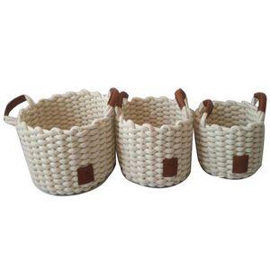 Weft Round White Baskets Set of Three
