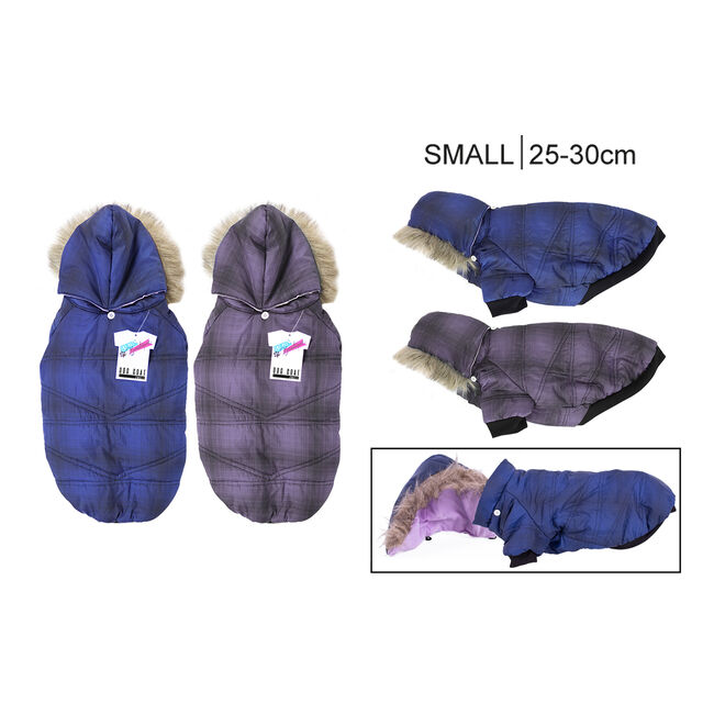 Padded Dog Coat with Fur Hood - Small