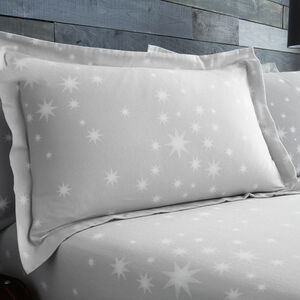 Brushed Cotton Stars Oxford Pillowcase Pair - Grey