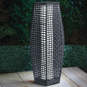 Rattan Solar Lantern Grey 69cm