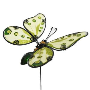 Stained Glass Butterfly Garden Stake - Green