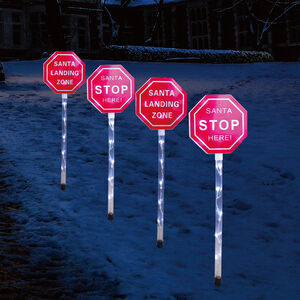 Santa Stop Here Path Lights - Set of 4
