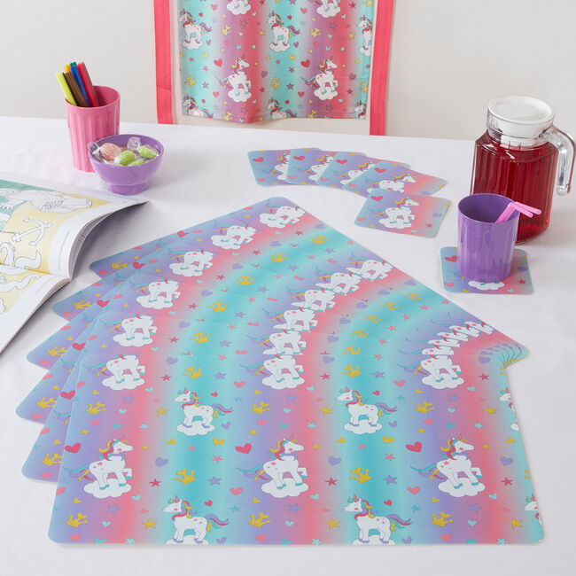 Retro Unicorn 6Pk Mats & Coasters