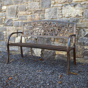 Garden Bench with Cast Iron Back