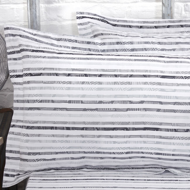 300TC Cotton Aidan Oxford Pillowcase Pair - Grey