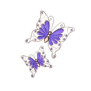 Set of 2 Purple Sparkle Butterfly Garden Wall Art