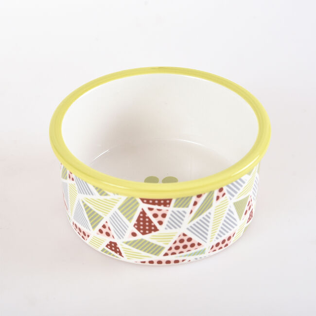 Ceramic Geo Pattern Pet Bowl