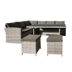 Rattan Garden Corner Sofa and Dining Set