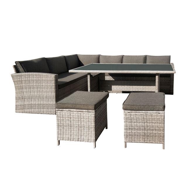 Rattan Garden Corner Sofa and Dining Set