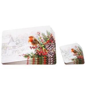 Robin Snowscene 4Pack Mats & Coasters