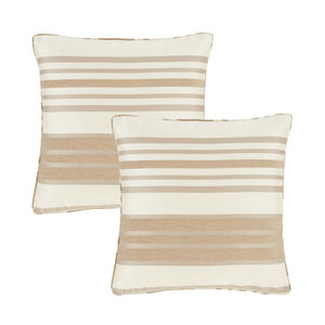 Chenille Stripe Natural Cushion Covers 2Pk
