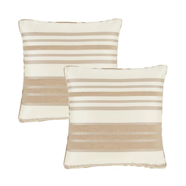 Chenille Stripe Natural Cushion Covers 2Pk