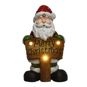 Light Up Santa with Merry Christmas Sign