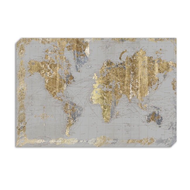 Gilded Map 60 x 90cm Canvas - Grey