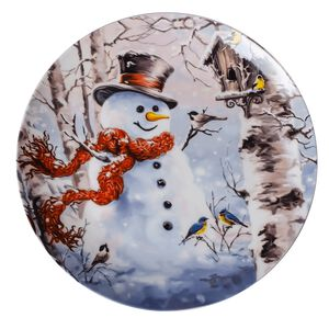 Love Christmas Snowman in the Forest Large Plate