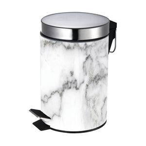 Marble Effect Stainless Steel Pedal Bin 3L