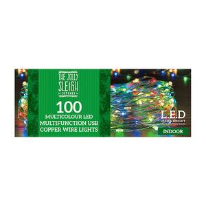 100 Multicolour LED USB Copper Wire Lights